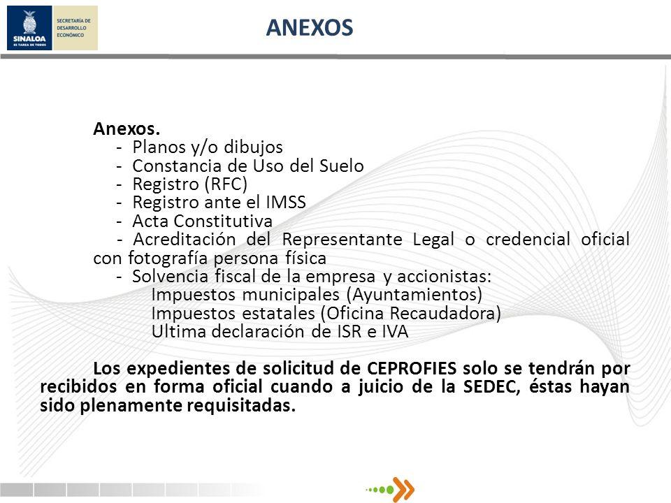 ANEXOS Anexos. - Planos y/o dibujos - Constancia de Uso del Suelo - Registro (RFC) - Registro ante el IMSS - Acta Constitutiva - Acreditación del Repr