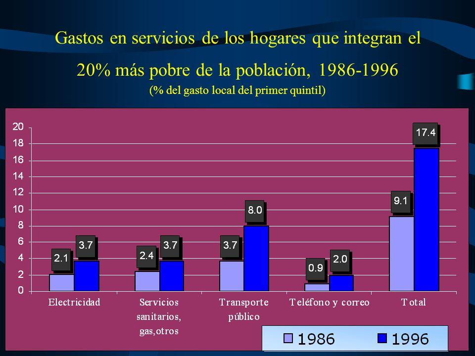 Esto reduce notoriamente la capacidad de acceso a los servicios públicos y a los restantes bienes por parte de los sectores más pobres