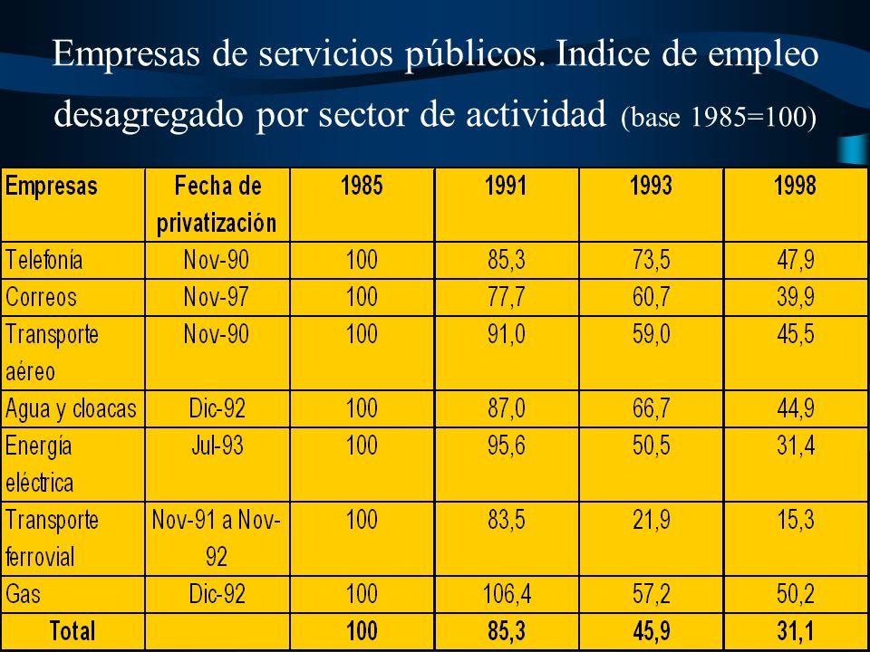 El incremento de las tarifas ha sido paralelo a una drástica reducción del personal ocupado, asumida en buena medida por el Estado en el momento previo a las privatizaciones, lo cual ha estado acompañado de la reducción del empleo por eliminación de proveedores locales.