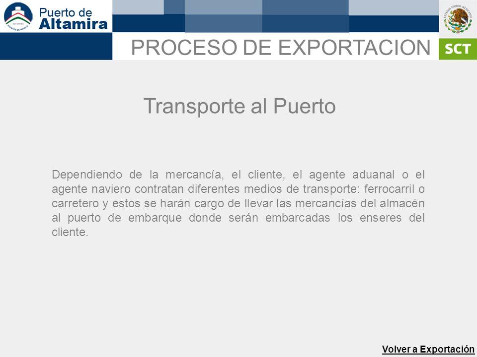 Transporte al Puerto Volver a Exportación Dependiendo de la mercancía, el cliente, el agente aduanal o el agente naviero contratan diferentes medios d