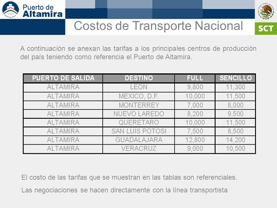 A continuación se anexan las tarifas a los principales centros de producción del país teniendo como referencia el Puerto de Altamira. El costo de las
