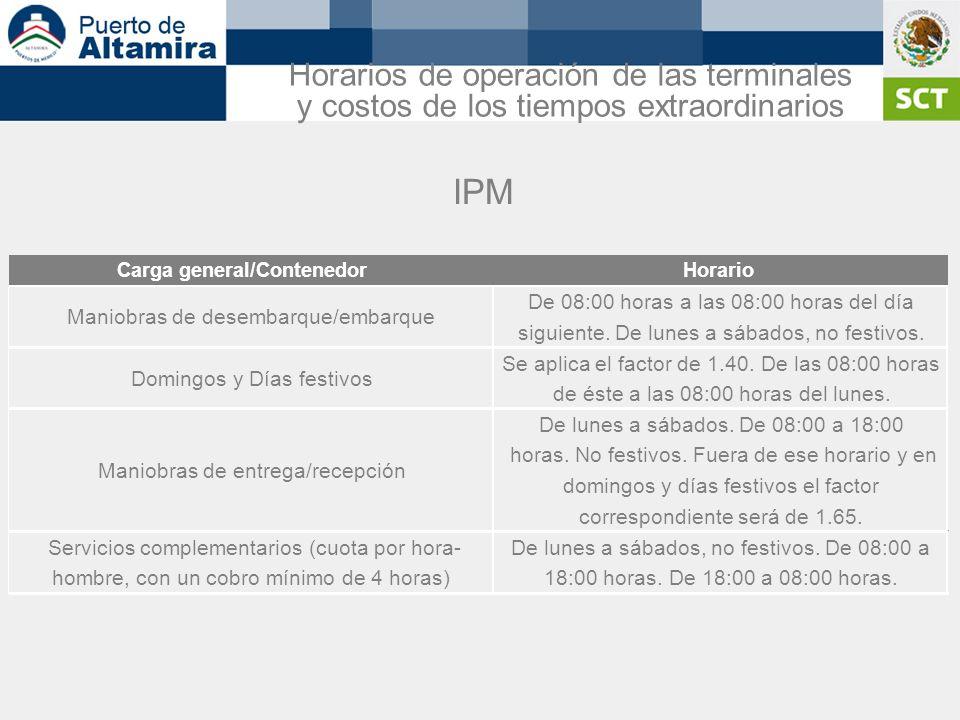 IPM Carga general/ContenedorHorario Maniobras de desembarque/embarque De 08:00 horas a las 08:00 horas del día siguiente. De lunes a sábados, no festi