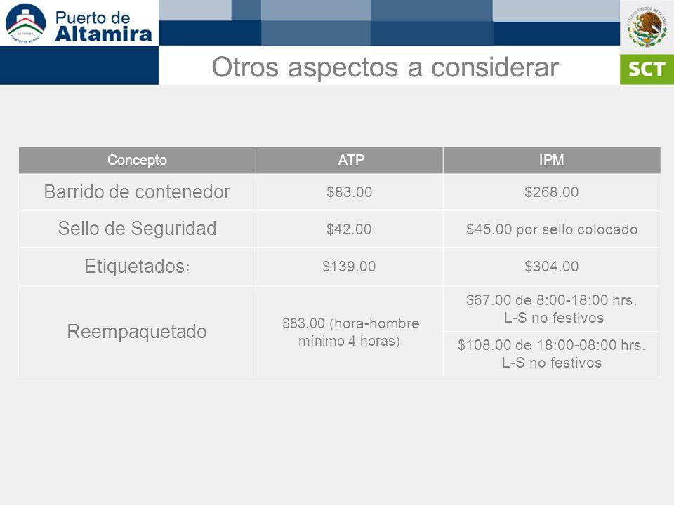 Otros aspectos a considerar Concepto ATPIPM Barrido de contenedor $83.00$268.00 Sello de Seguridad $ 42.00$45.00 por sello colocado Etiquetados : $ 13