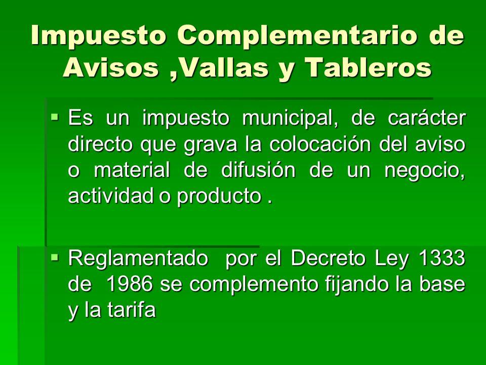 Avisos y Tableros Lo coloca Para promoción La Base es El Impuesto De Industria Y Comercio La Tarifa es el 1.5 % Hecho Generador
