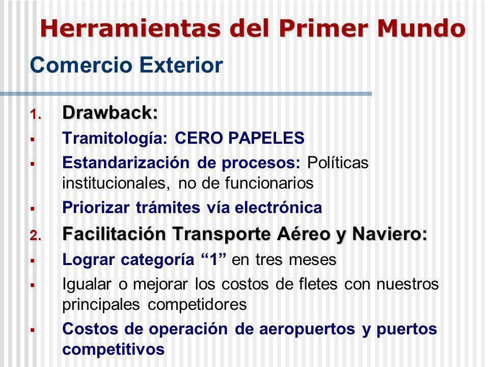 Comercio Exterior 1. Drawback: Tramitología: CERO PAPELES Estandarización de procesos: Políticas institucionales, no de funcionarios Priorizar trámite