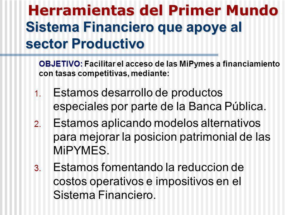 Sistema Financiero que apoye al sector Productivo 1. Estamos desarrollo de productos especiales por parte de la Banca Pública. 2. Estamos aplicando mo