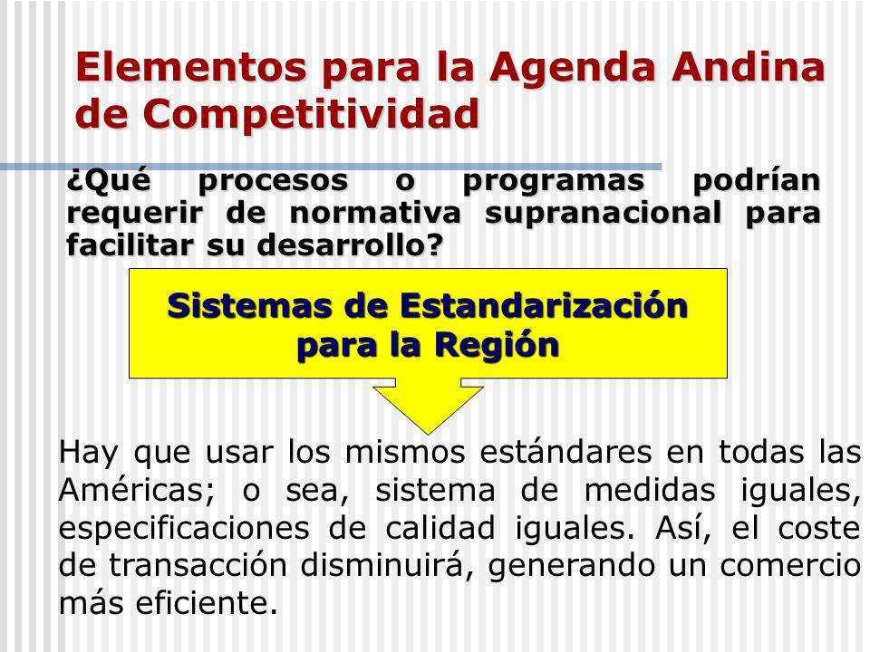Elementos para la Agenda Andina de Competitividad ¿Qué procesos o programas podrían requerir de normativa supranacional para facilitar su desarrollo.