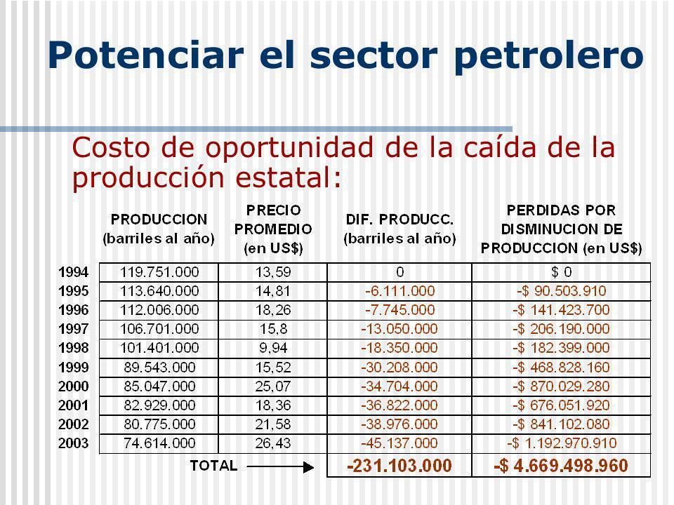 Potenciar sector petrolero Costo social de la ineficiencia Costo de oportunidad de la caída de la producción estatal: