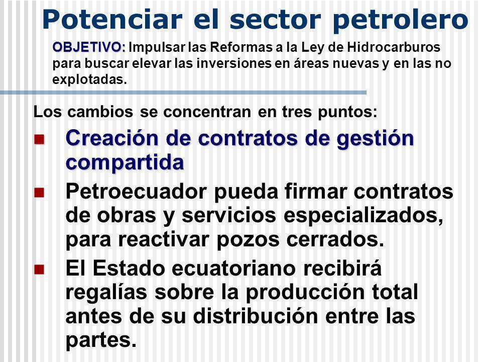 Potenciar el sector petrolero OBJETIVO: OBJETIVO: Impulsar las Reformas a la Ley de Hidrocarburos para buscar elevar las inversiones en áreas nuevas y en las no explotadas.