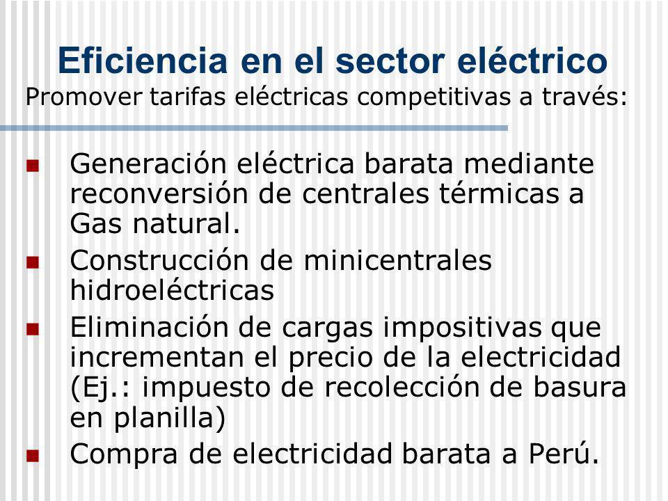Eficiencia en el sector eléctrico Promover tarifas eléctricas competitivas a través: Generación eléctrica barata mediante reconversión de centrales té