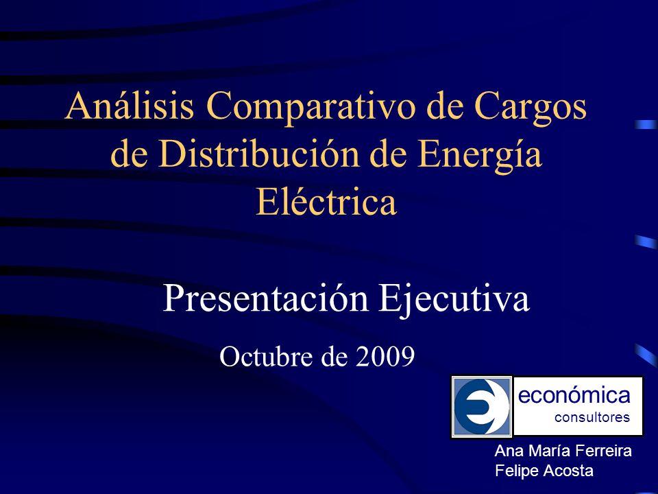 Comparación Países Las características de muestra son las siguientes: En el caso de Perú, para despejar el valor del VAD (D+C) se utilizó el precio de barra (G+T) del Sistema Eléctrico Interconectado Nacional (SEIN) correspondiente a la subestación de San Juan (220 kV), la de mayor representatividad de las empresas de la muestra.