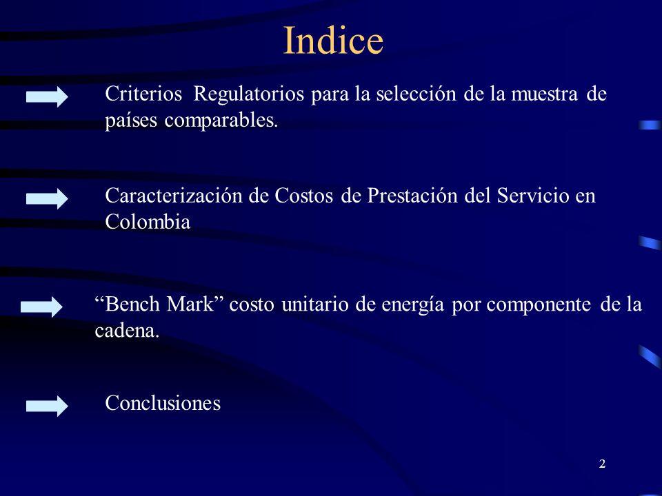 Criterios Regulatorios para la selección de la muestra de países comparables.