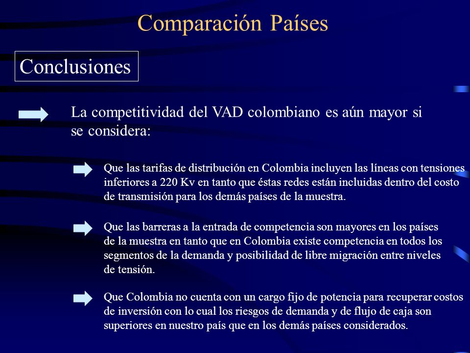 Comparación Países Conclusiones La competitividad del VAD colombiano es aún mayor si se considera: Que las tarifas de distribución en Colombia incluyen las líneas con tensiones inferiores a 220 Kv en tanto que éstas redes están incluidas dentro del costo de transmisión para los demás países de la muestra.