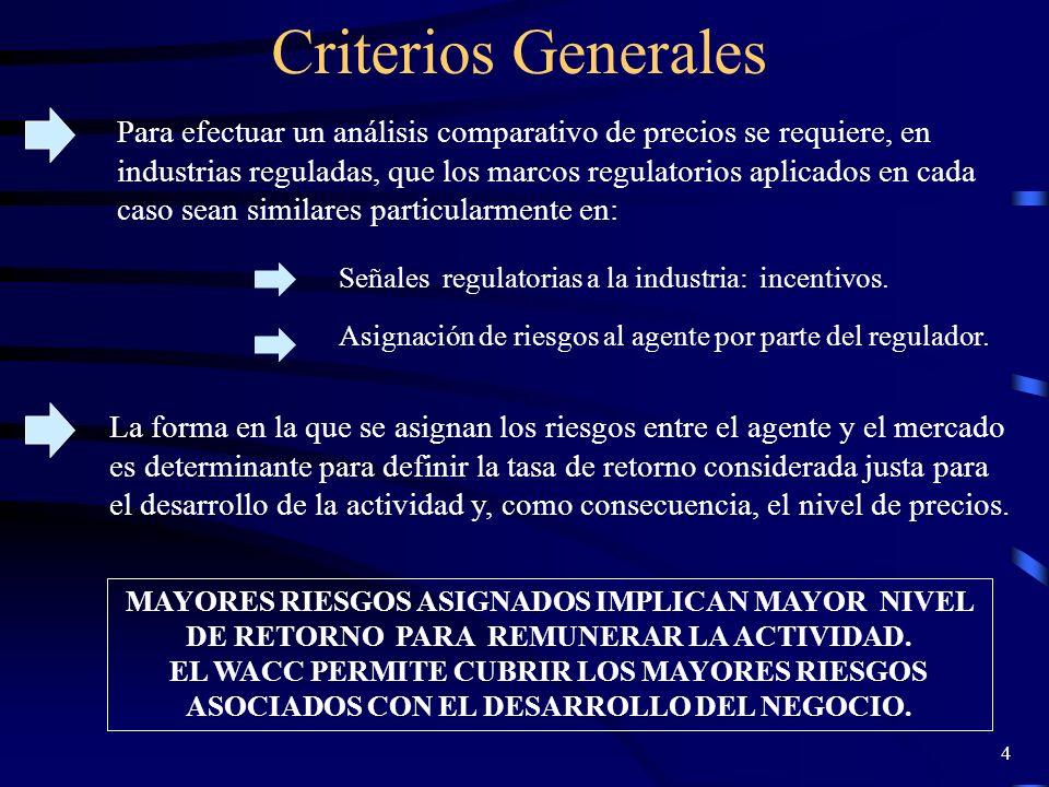 25 Comparación Países Las características de muestra son las siguientes: En el caso de Chile, para despejar el valor del VAD (D+C) se utilizó el precio de nudo del Sistema Interconectado Central (SIC) al cual se conectan las empresas de la muestra.