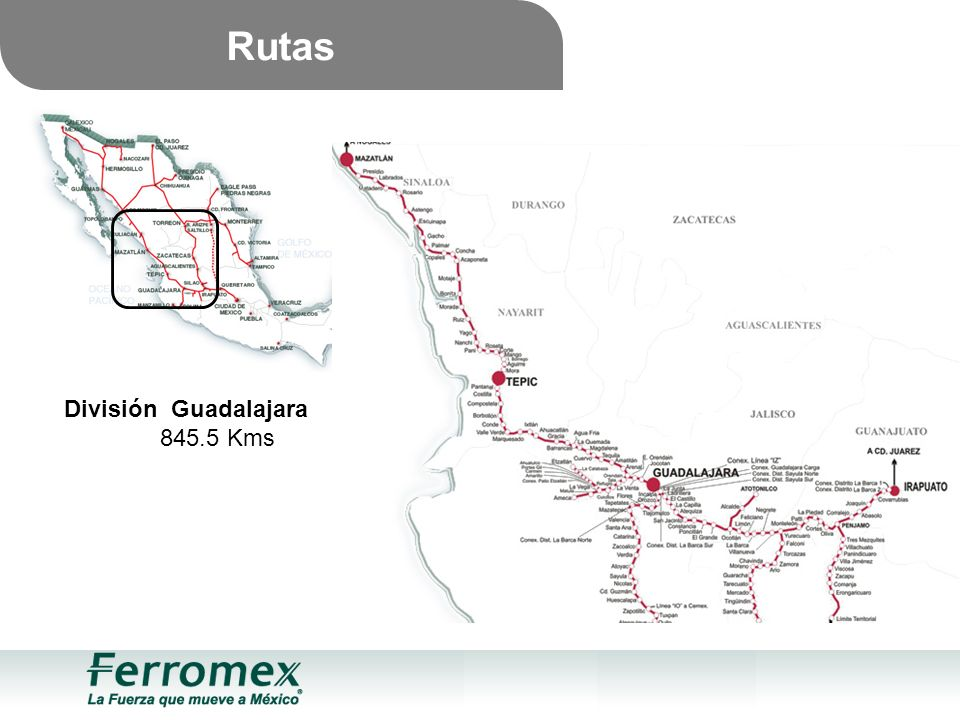Rutas División Guadalajara 845.5 Kms