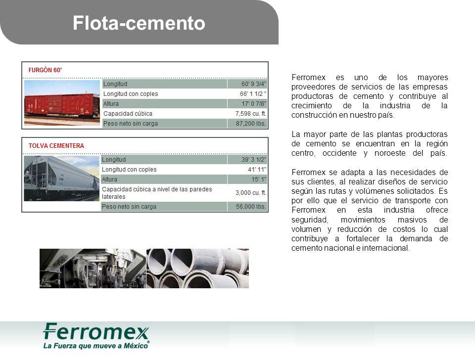 Flota-cemento Ferromex es uno de los mayores proveedores de servicios de las empresas productoras de cemento y contribuye al crecimiento de la industria de la construcción en nuestro país.
