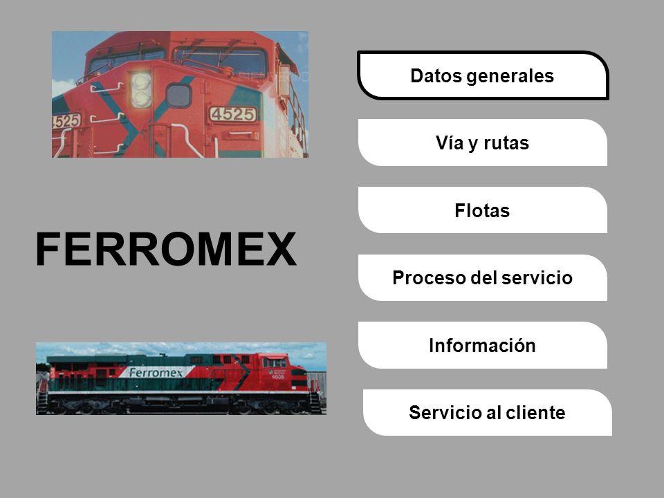 Proceso del servicioVía y rutasDatos generalesFlotasInformaciónServicio al cliente FERROMEX