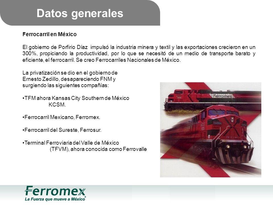 Ferrocarril en México El gobierno de Porfirio Díaz impulsó la industria minera y textil y las exportaciones crecieron en un 300%, propiciando la productividad, por lo que se necesitó de un medio de transporte barato y eficiente, el ferrocarril.