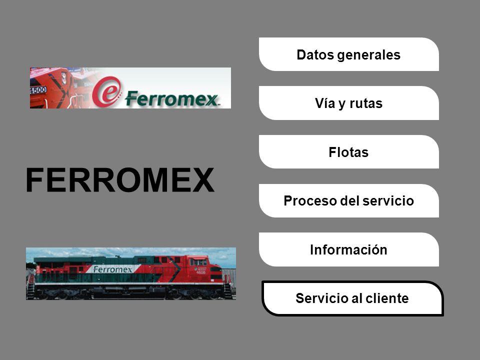 Proceso del servicioVía y rutasDatos generalesFlotasInformaciónServicio al cliente FERROMEX Servicio al cliente