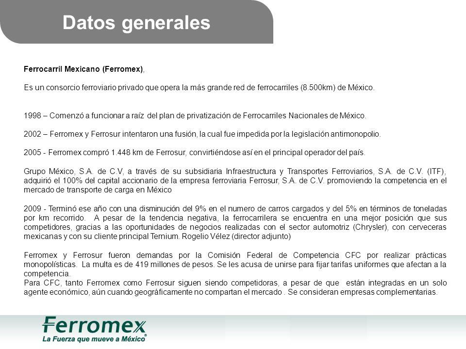 Ferrocarril Mexicano (Ferromex), Es un consorcio ferroviario privado que opera la más grande red de ferrocarriles (8.500km) de México.