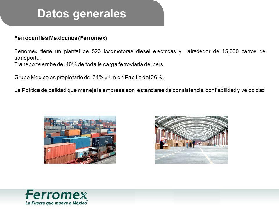 Ferrocarriles Mexicanos (Ferromex) Ferromex tiene un plantel de 523 locomotoras diesel eléctricas y alrededor de 15,000 carros de transporte.