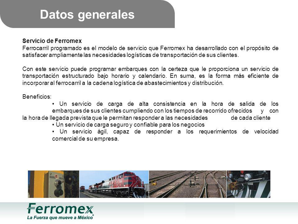 Servicio de Ferromex Ferrocarril programado es el modelo de servicio que Ferromex ha desarrollado con el propósito de satisfacer ampliamente las necesidades logísticas de transportación de sus clientes.