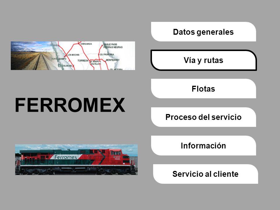 Proceso del servicioVía y rutasDatos generalesFlotasInformaciónServicio al cliente FERROMEX Vía y rutas