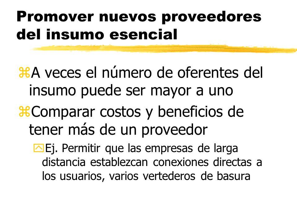 Promover nuevos proveedores del insumo esencial zA veces el número de oferentes del insumo puede ser mayor a uno zComparar costos y beneficios de tene