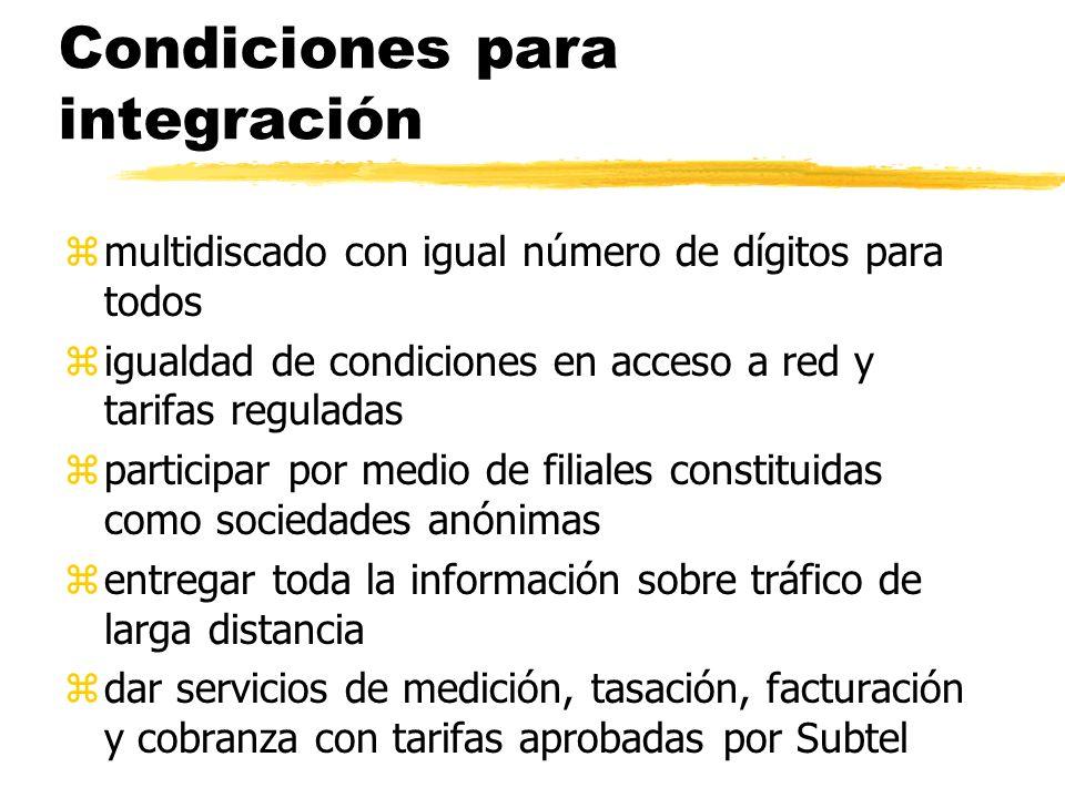 Condiciones para integración zmultidiscado con igual número de dígitos para todos zigualdad de condiciones en acceso a red y tarifas reguladas zpartic
