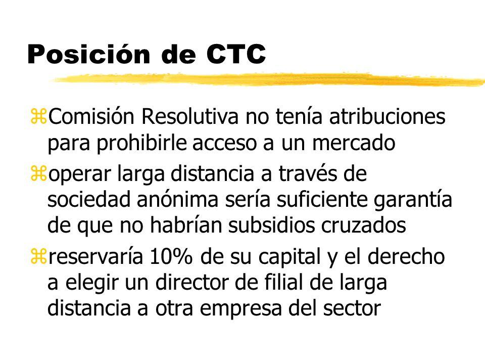 Posición de CTC zComisión Resolutiva no tenía atribuciones para prohibirle acceso a un mercado zoperar larga distancia a través de sociedad anónima se