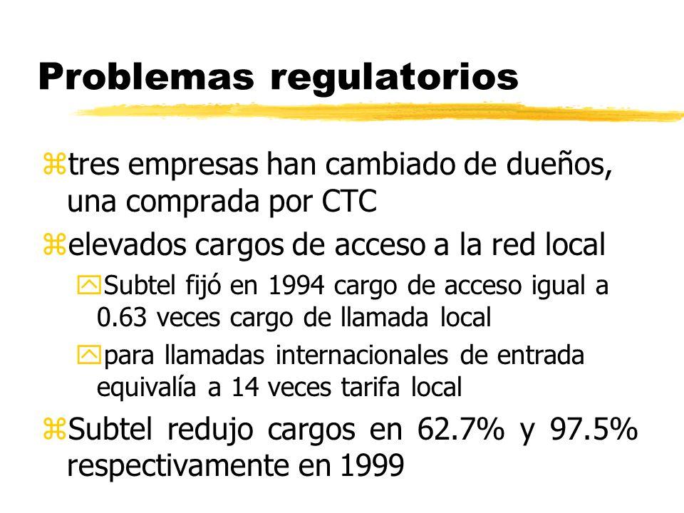 Problemas regulatorios ztres empresas han cambiado de dueños, una comprada por CTC zelevados cargos de acceso a la red local ySubtel fijó en 1994 carg