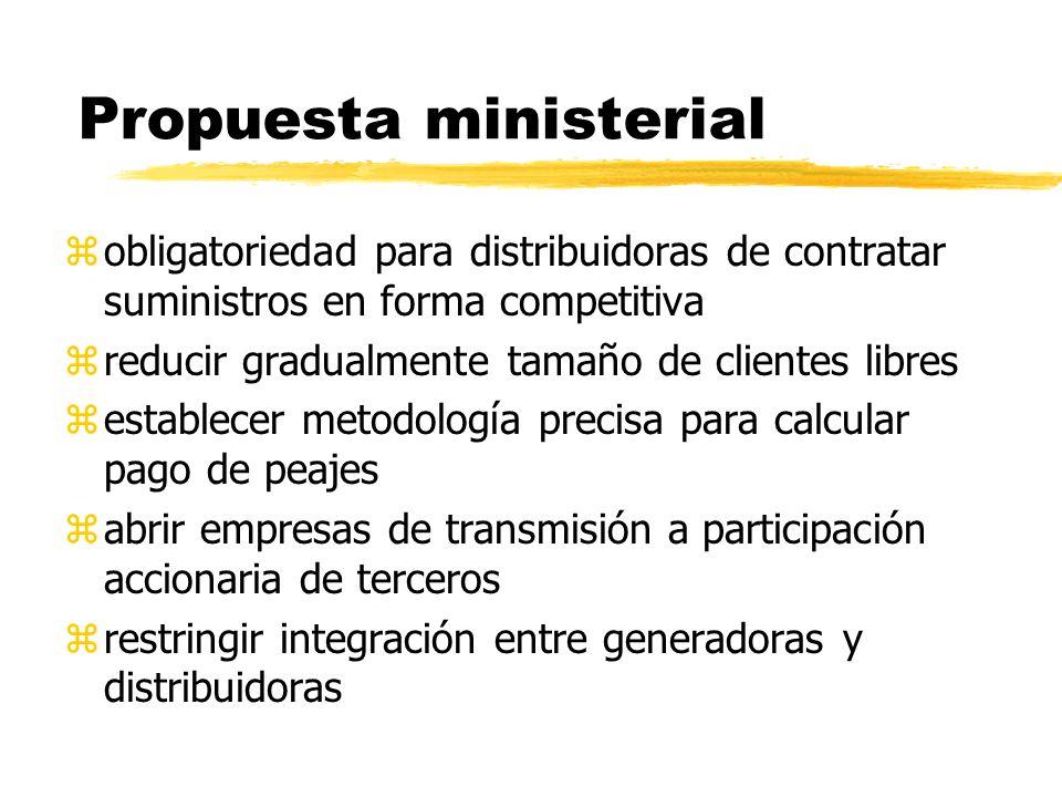 Propuesta ministerial zobligatoriedad para distribuidoras de contratar suministros en forma competitiva zreducir gradualmente tamaño de clientes libre