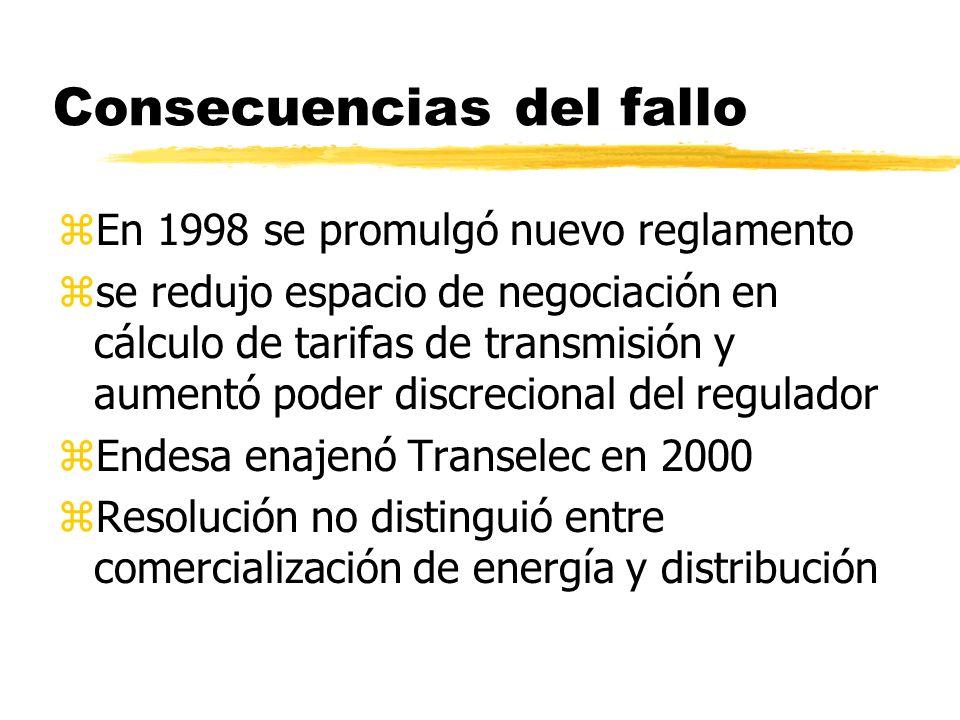 Consecuencias del fallo zEn 1998 se promulgó nuevo reglamento zse redujo espacio de negociación en cálculo de tarifas de transmisión y aumentó poder d