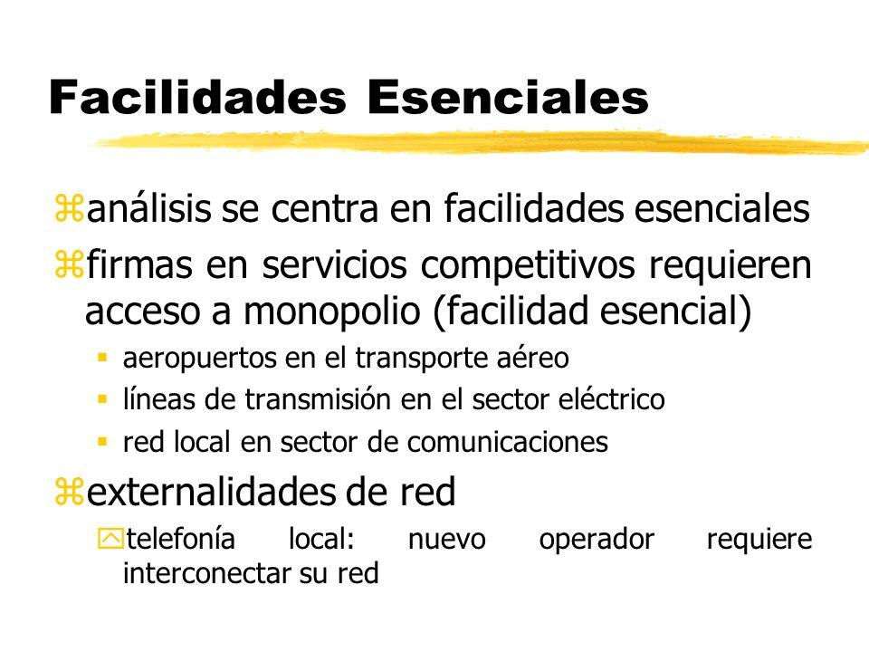 Facilidades Esenciales zanálisis se centra en facilidades esenciales zfirmas en servicios competitivos requieren acceso a monopolio (facilidad esencia