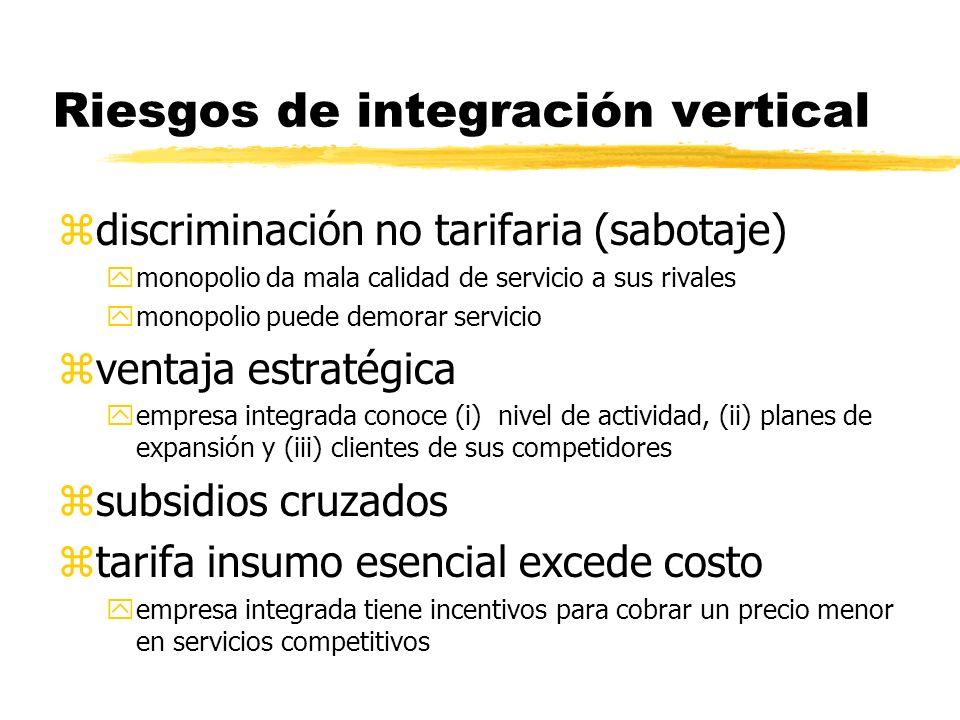 Riesgos de integración vertical zdiscriminación no tarifaria (sabotaje) ymonopolio da mala calidad de servicio a sus rivales ymonopolio puede demorar