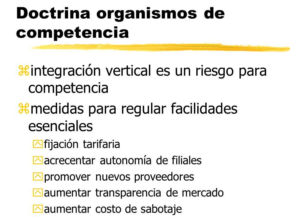 Doctrina organismos de competencia zintegración vertical es un riesgo para competencia zmedidas para regular facilidades esenciales yfijación tarifari