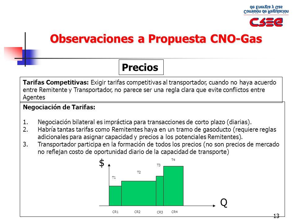 13 Observaciones a Propuesta CNO-Gas Precios Tarifas Competitivas: Exigir tarifas competitivas al transportador, cuando no haya acuerdo entre Remitent
