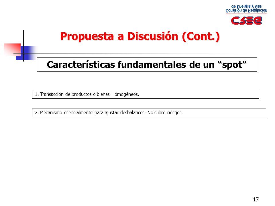 17 Propuesta a Discusión (Cont.) Características fundamentales de un spot 1. Transacción de productos o bienes Homogéneos. 2. Mecanismo esencialmente