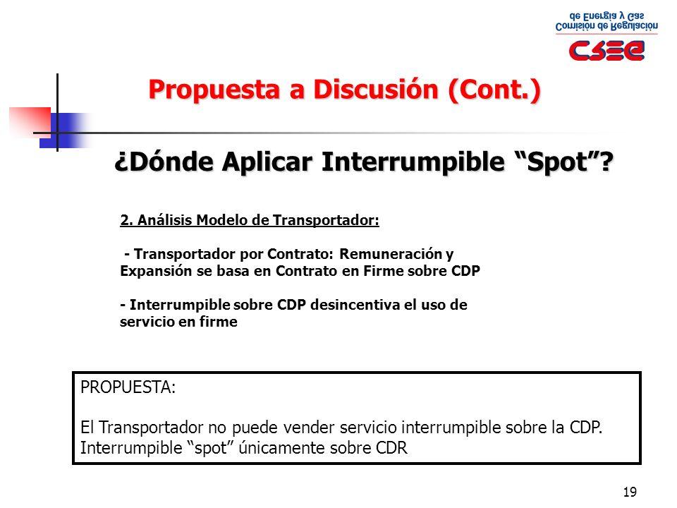 19 ¿Dónde Aplicar Interrumpible Spot? Propuesta a Discusión (Cont.) 2. Análisis Modelo de Transportador: - Transportador por Contrato: Remuneración y