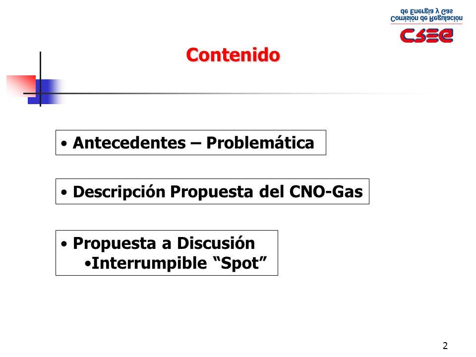 3 Contenido Antecedentes – Problemática Descripción Propuesta del CNO-Gas Propuesta a Discusión Interrumpible Spot
