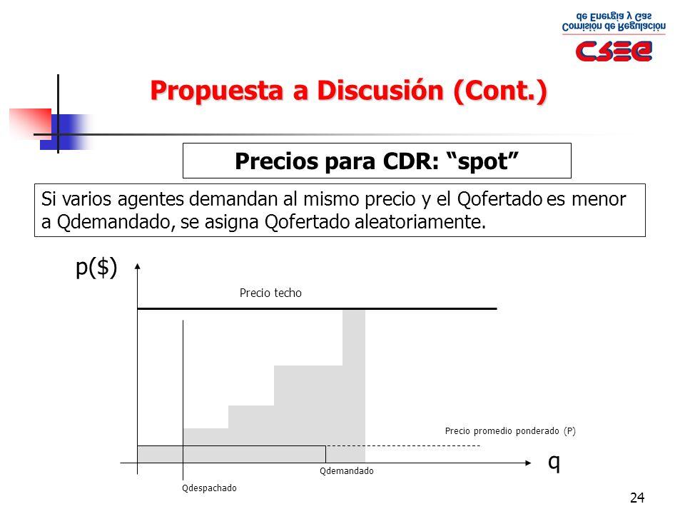 24 Propuesta a Discusión (Cont.) Precios para CDR: spot Si varios agentes demandan al mismo precio y el Qofertado es menor a Qdemandado, se asigna Qof