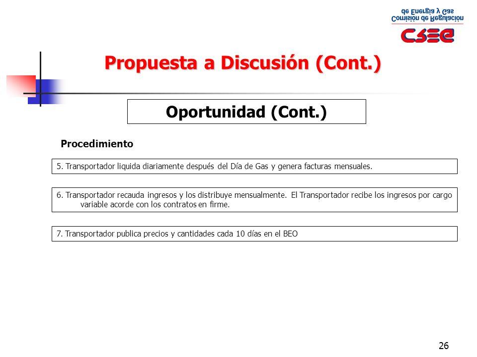 26 Propuesta a Discusión (Cont.) Oportunidad (Cont.) Procedimiento 5. Transportador liquida diariamente después del Día de Gas y genera facturas mensu