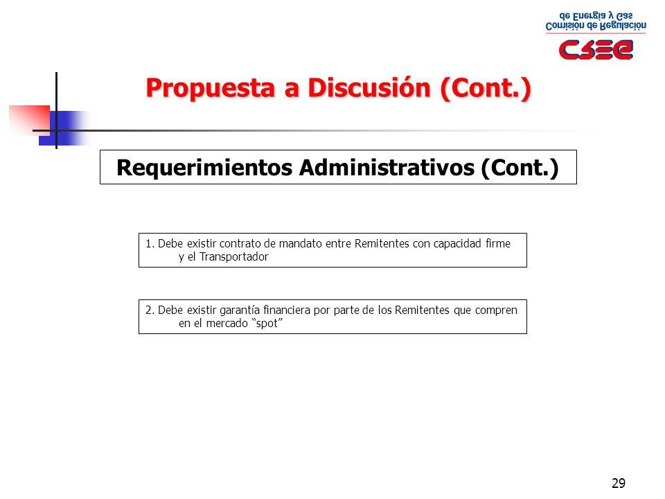 29 Propuesta a Discusión (Cont.) Requerimientos Administrativos (Cont.) 1. Debe existir contrato de mandato entre Remitentes con capacidad firme y el