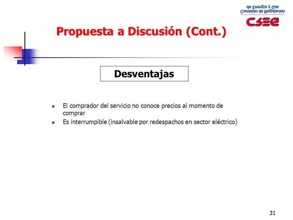 31 Propuesta a Discusión (Cont.) El comprador del servicio no conoce precios al momento de comprar Es interrumpible (insalvable por redespachos en sec