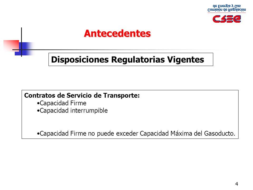4 Antecedentes Disposiciones Regulatorias Vigentes Contratos de Servicio de Transporte: Capacidad Firme Capacidad interrumpible Capacidad Firme no pue