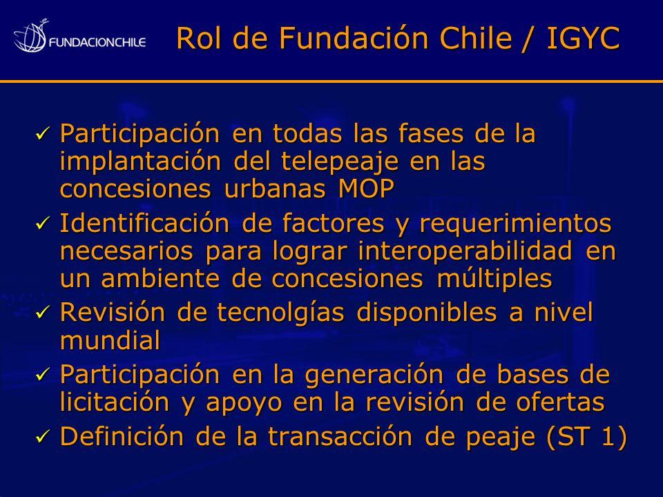 Participación en todas las fases de la implantación del telepeaje en las concesiones urbanas MOP Participación en todas las fases de la implantación d