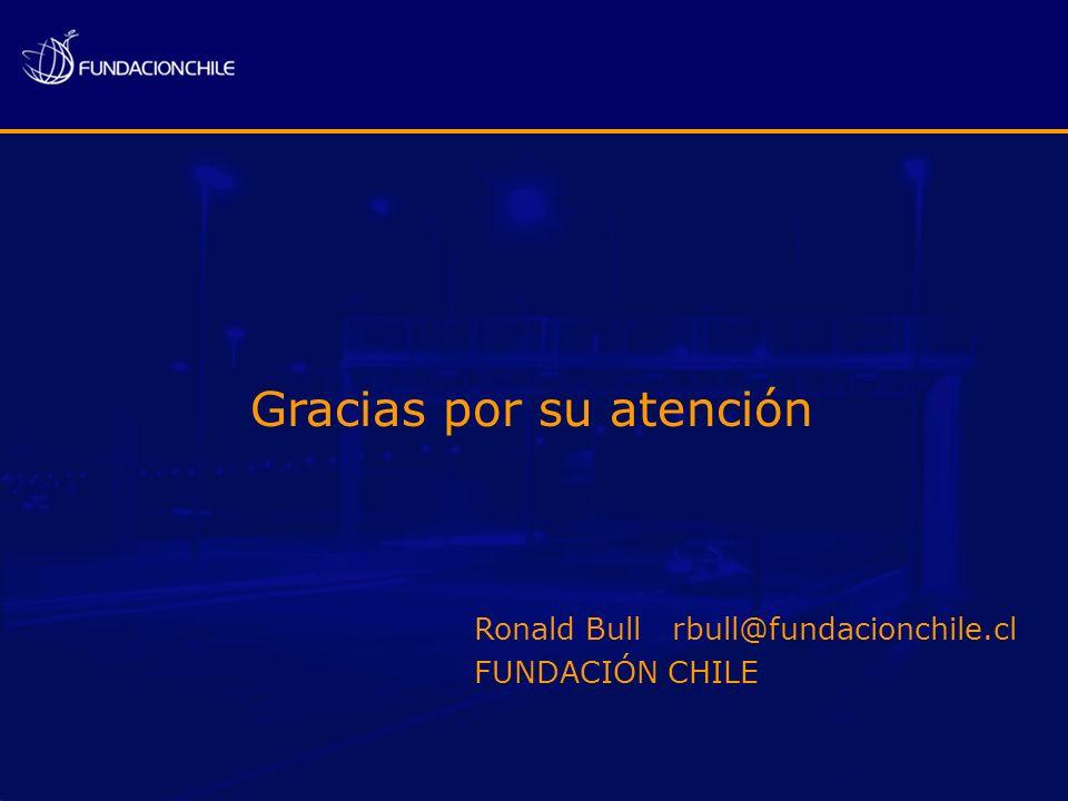 Gracias por su atención Ronald Bull rbull@fundacionchile.cl FUNDACIÓN CHILE