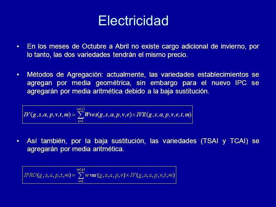 Electricidad En los meses de Octubre a Abril no existe cargo adicional de invierno, por lo tanto, las dos variedades tendrán el mismo precio.