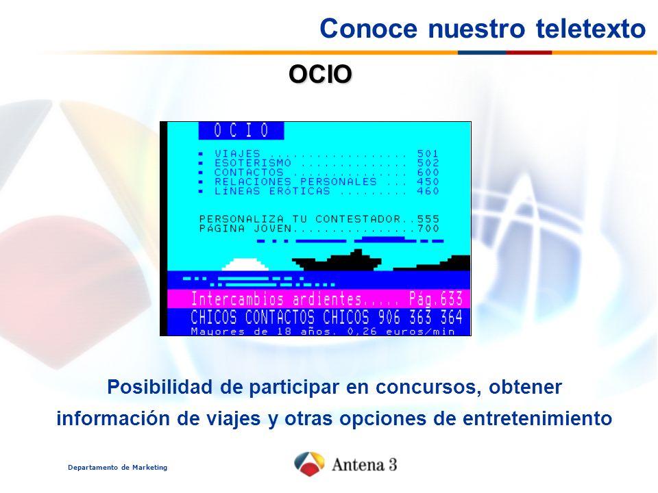 Departamento de Marketing OCIO Posibilidad de participar en concursos, obtener información de viajes y otras opciones de entretenimiento Conoce nuestro teletexto