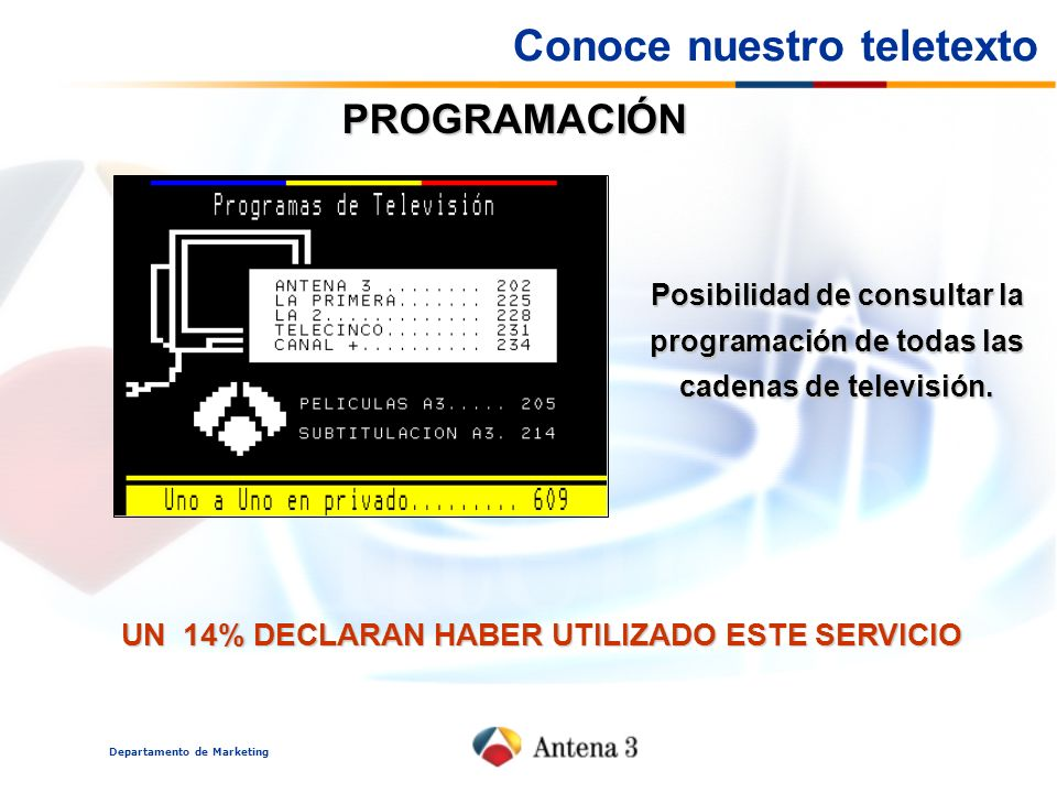 Departamento de Marketing PROGRAMACIÓN UN 14% DECLARAN HABER UTILIZADO ESTE SERVICIO Posibilidad de consultar la programación de todas las cadenas de